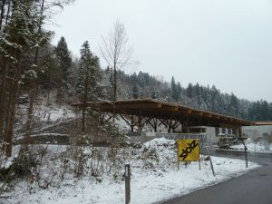 Neues Dienstleistungszentrum der Gemeinden Thüringen und Blmenegg am potentiellen Auwald Standort (Foto: Naturschutzanwaltschaft)