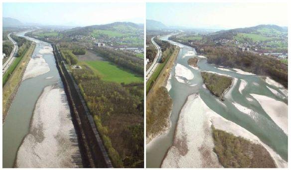Alpenrhein zwischen Schaan-Buchs und Bendern-Haag links: Status quo, rechts visualisierte Aufweitung (Foto und Visualisierung: Internationale Rheinregulierung & Peter Rey, Hydra Institute)