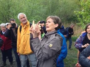 Monika Gstöhl demonstriert ein Bibergebiss